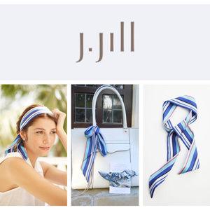 🆕J.Jill 100% Silk SCARF Skinny Striped
